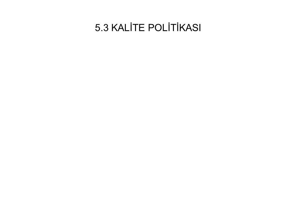 5.3 KALİTE POLİTİKASI
