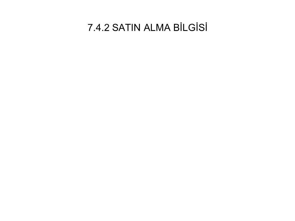 7.4.2 SATIN ALMA BİLGİSİ