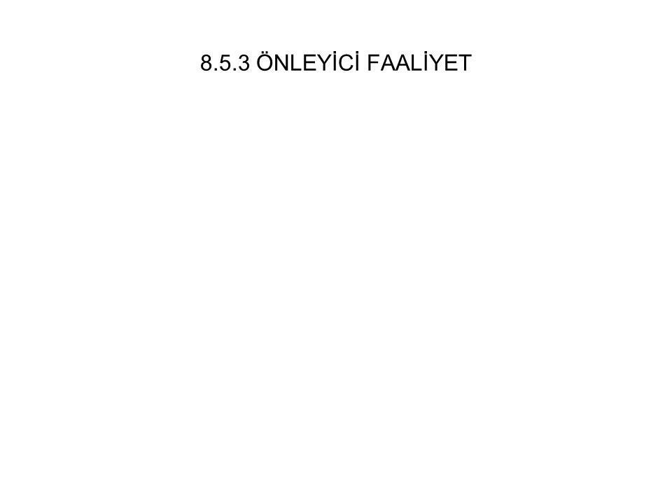 8.5.3 ÖNLEYİCİ FAALİYET