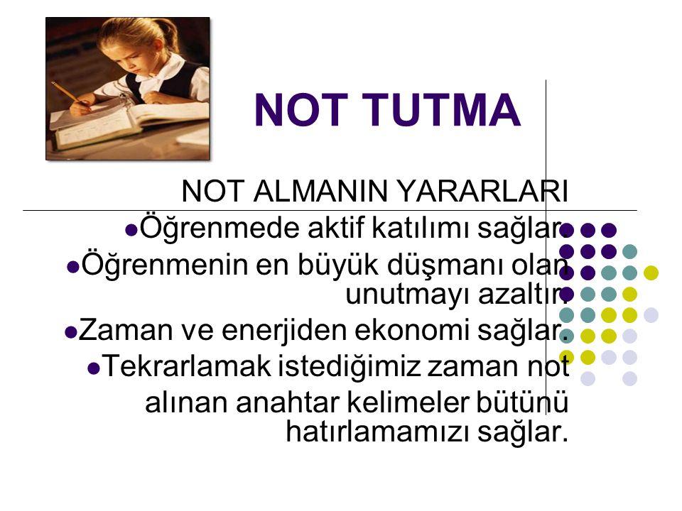 NOT TUTMA NOT ALMANIN YARARLARI Öğrenmede aktif katılımı sağlar.
