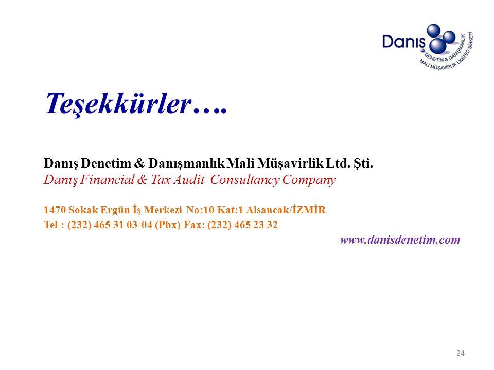 Teşekkürler…. Danış Denetim & Danışmanlık Mali Müşavirlik Ltd. Şti.