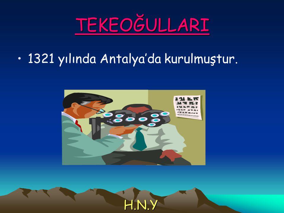 TEKEOĞULLARI 1321 yılında Antalya'da kurulmuştur. H.N.Y