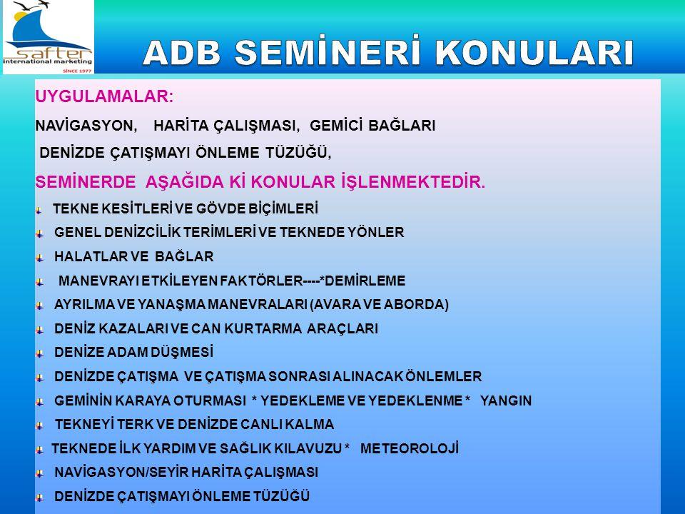 ADB SEMİNERİ KONULARI UYGULAMALAR: