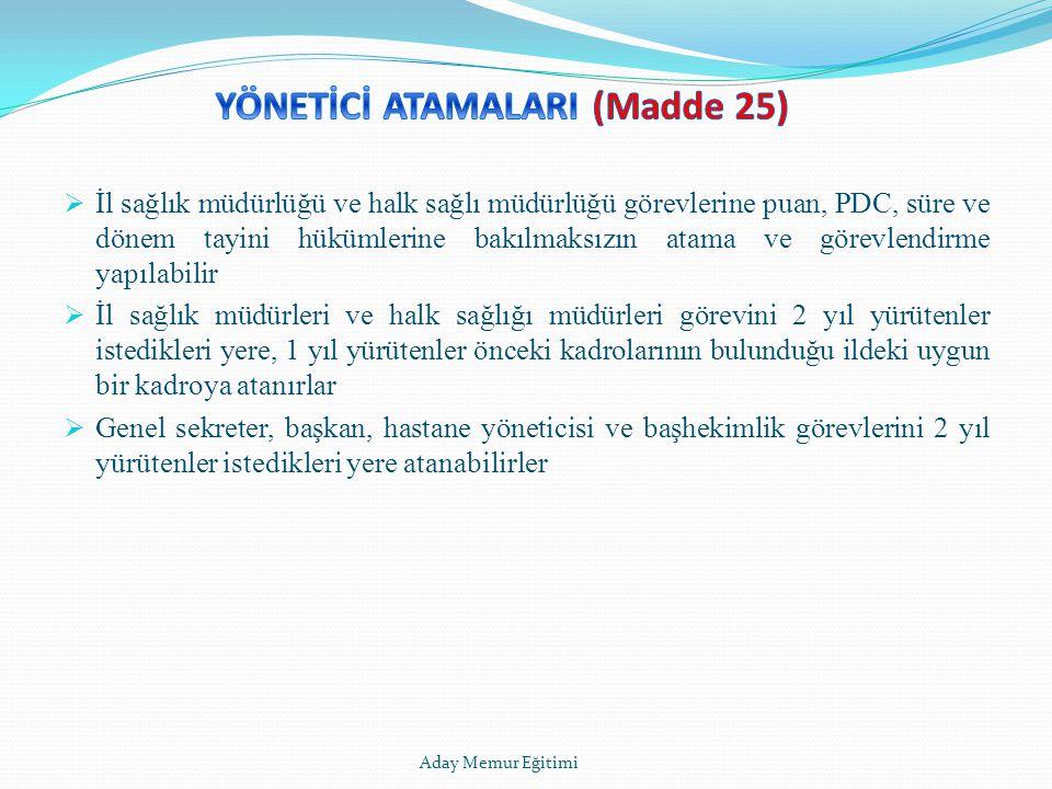 YÖNETİCİ ATAMALARI (Madde 25)