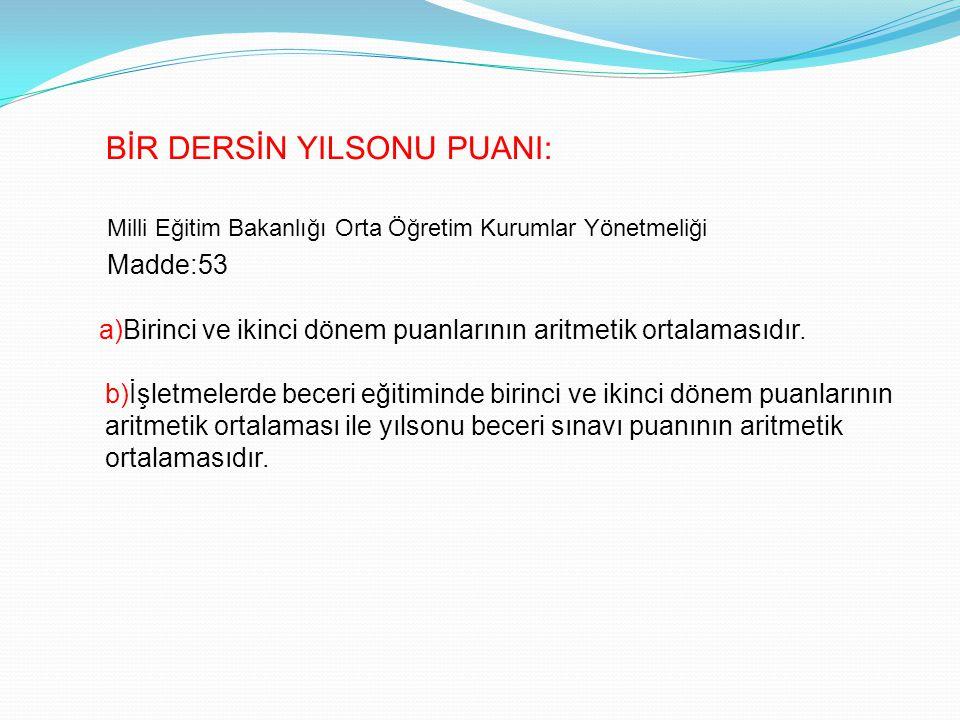 Milli Eğitim Bakanlığı Orta Öğretim Kurumlar Yönetmeliği Madde:53