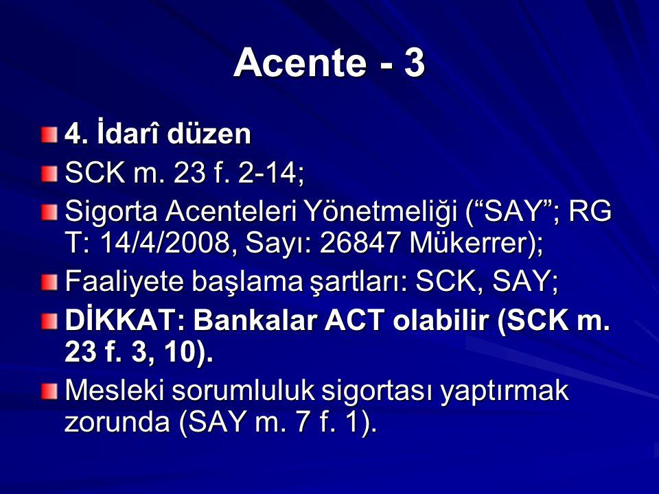 Acente - 3 4. İdarî düzen SCK m. 23 f. 2-14;
