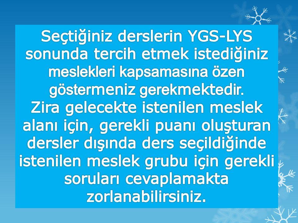 Seçtiğiniz derslerin YGS-LYS sonunda tercih etmek istediğiniz meslekleri kapsamasına özen göstermeniz gerekmektedir.
