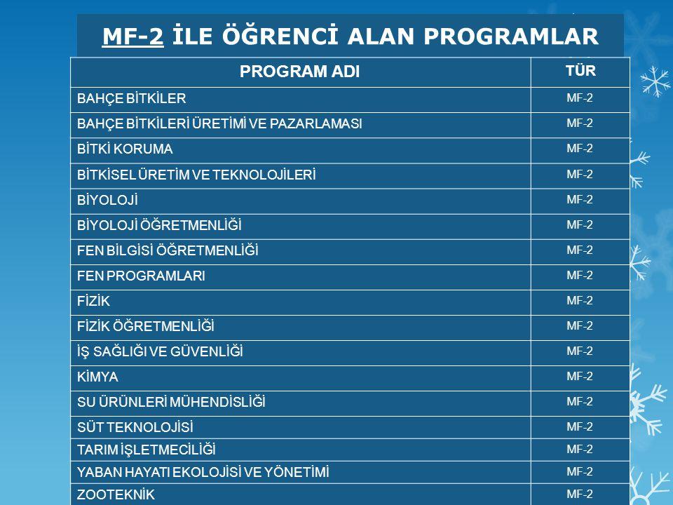 MF-2 İLE ÖĞRENCİ ALAN PROGRAMLAR