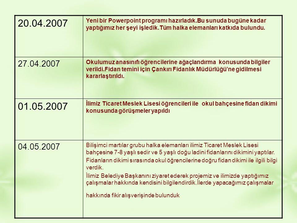 20.04.2007 Yeni bir Powerpoint programı hazırladık.Bu sunuda bugüne kadar yaptığımız her şeyi işledik.Tüm halka elemanları katkıda bulundu.