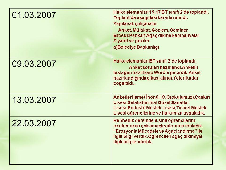 01.03.2007 Halka elemanları 15.47 BT sınıfı 2'de toplandı. Toplantıda aşağıdaki kararlar alındı. Yapılacak çalışmalar.
