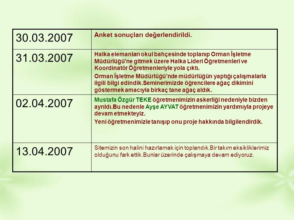 30.03.2007 Anket sonuçları değerlendirildi. 31.03.2007.