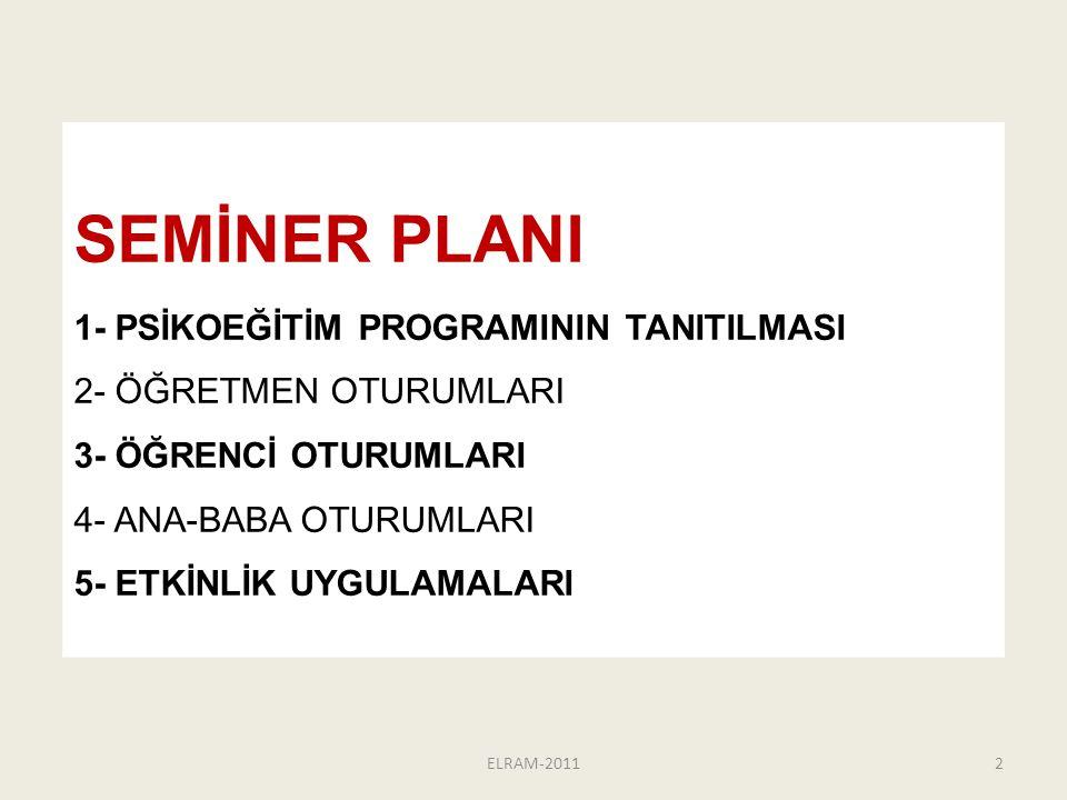 SEMİNER PLANI 1- PSİKOEĞİTİM PROGRAMININ TANITILMASI