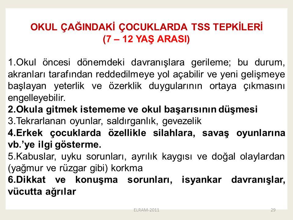 OKUL ÇAĞINDAKİ ÇOCUKLARDA TSS TEPKİLERİ