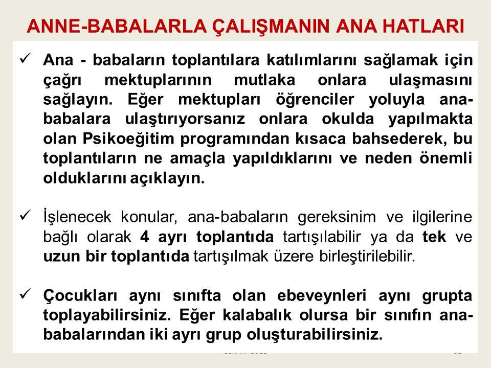 ANNE-BABALARLA ÇALIŞMANIN ANA HATLARI