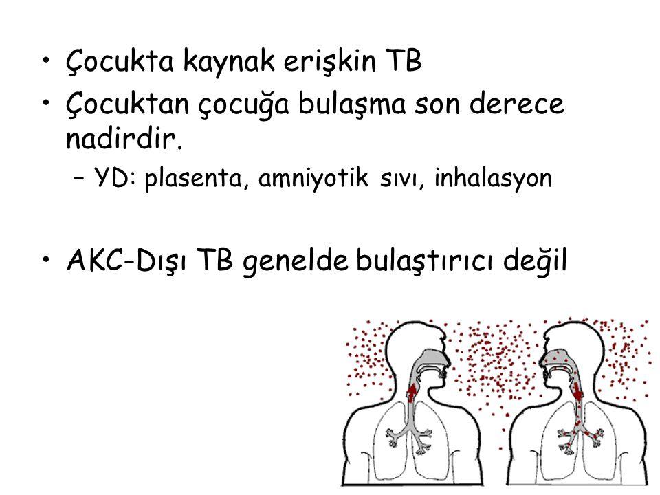 Çocukta kaynak erişkin TB Çocuktan çocuğa bulaşma son derece nadirdir.