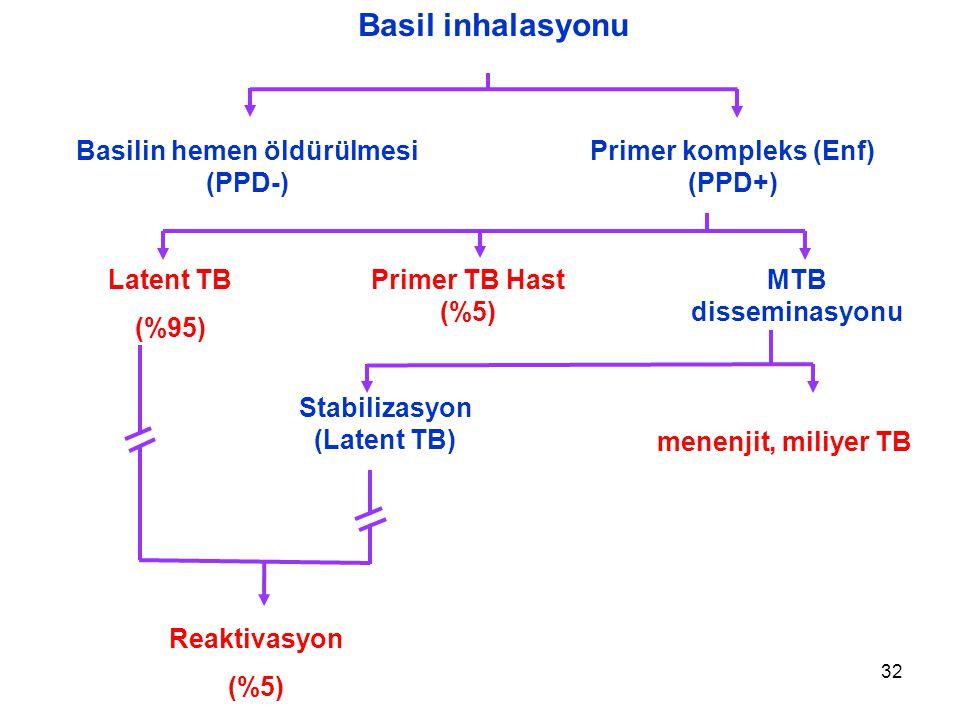 Basil inhalasyonu Basilin hemen öldürülmesi (PPD-)