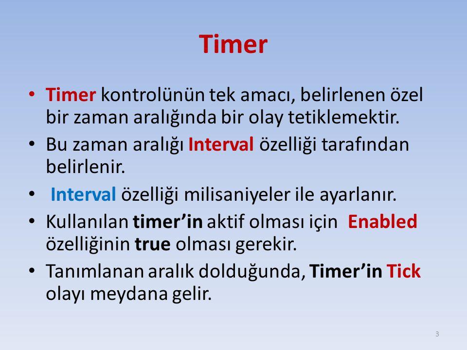 Timer Timer kontrolünün tek amacı, belirlenen özel bir zaman aralığında bir olay tetiklemektir.