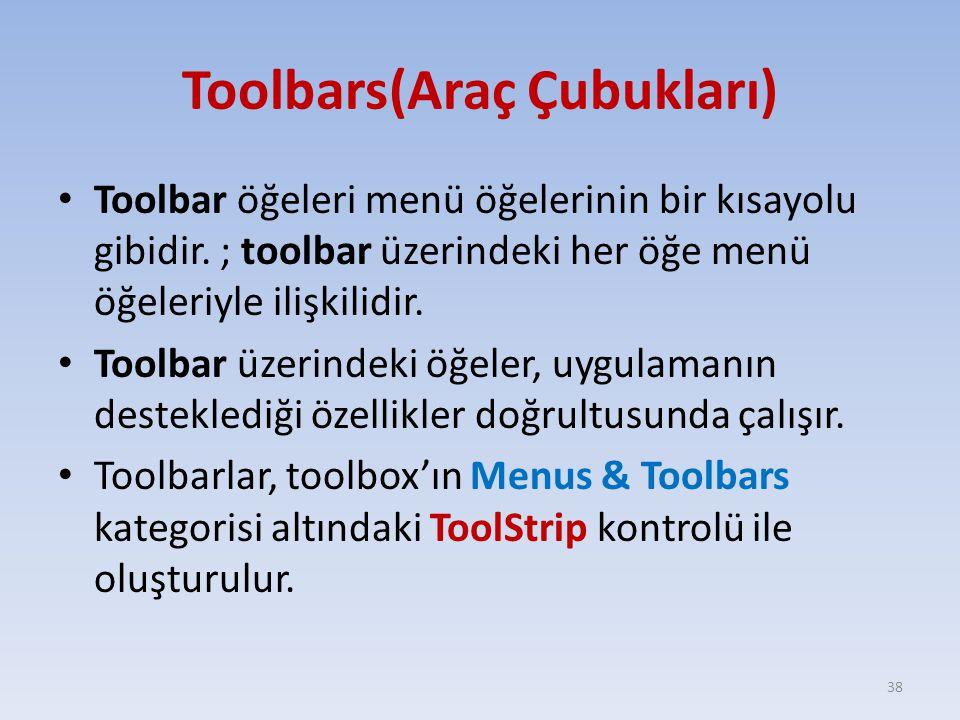 Toolbars(Araç Çubukları)