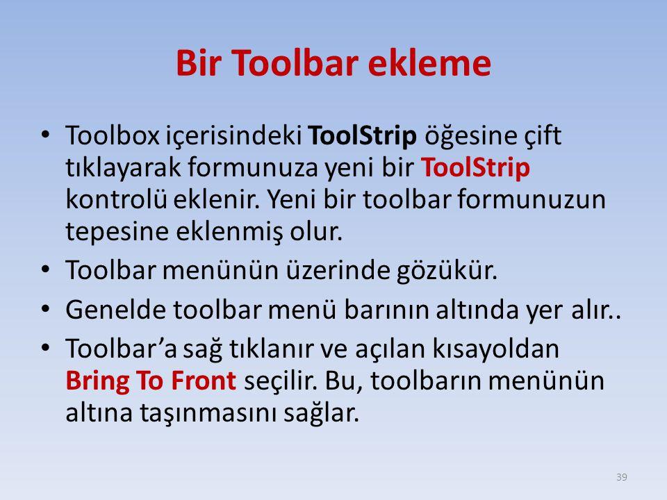 Bir Toolbar ekleme