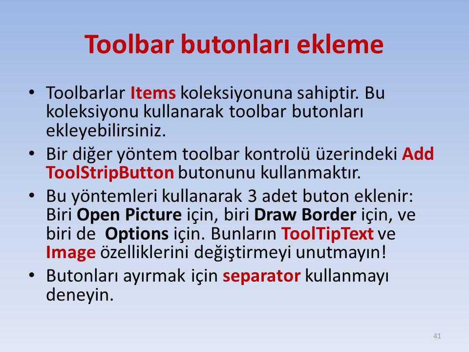 Toolbar butonları ekleme