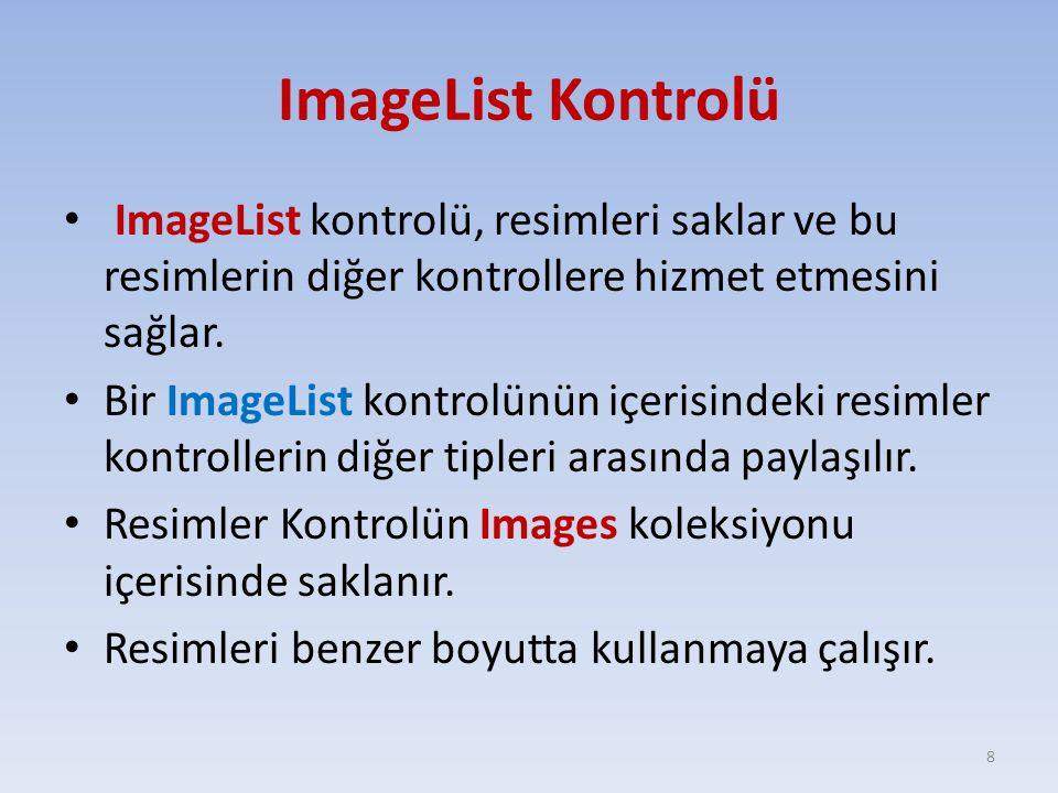 ImageList Kontrolü ImageList kontrolü, resimleri saklar ve bu resimlerin diğer kontrollere hizmet etmesini sağlar.