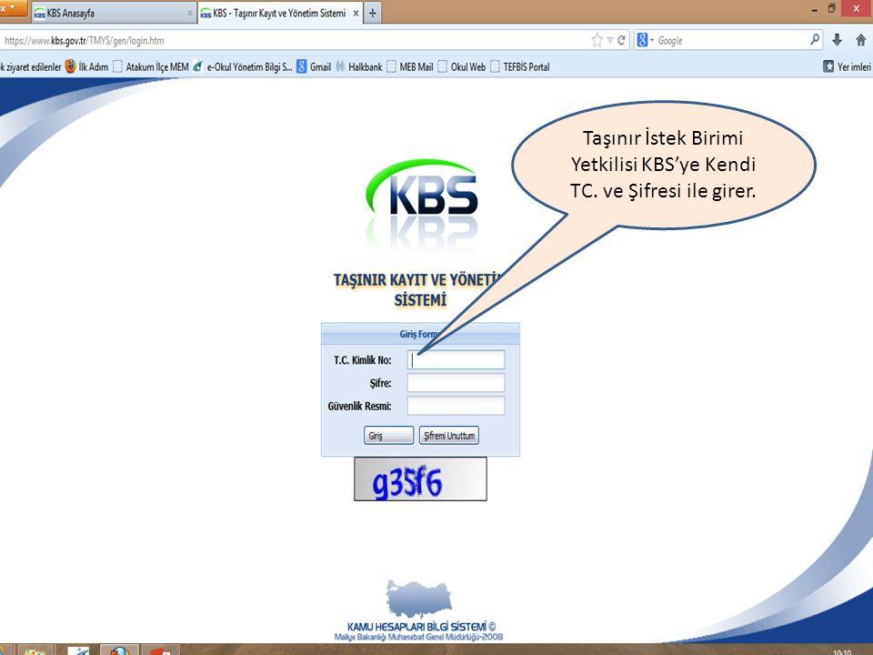 Taşınır İstek Birimi Yetkilisi KBS'ye Kendi TC. ve Şifresi ile girer.