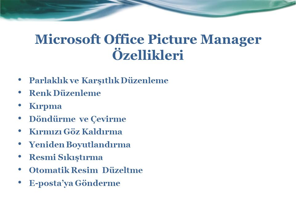 Microsoft Office Picture Manager Özellikleri
