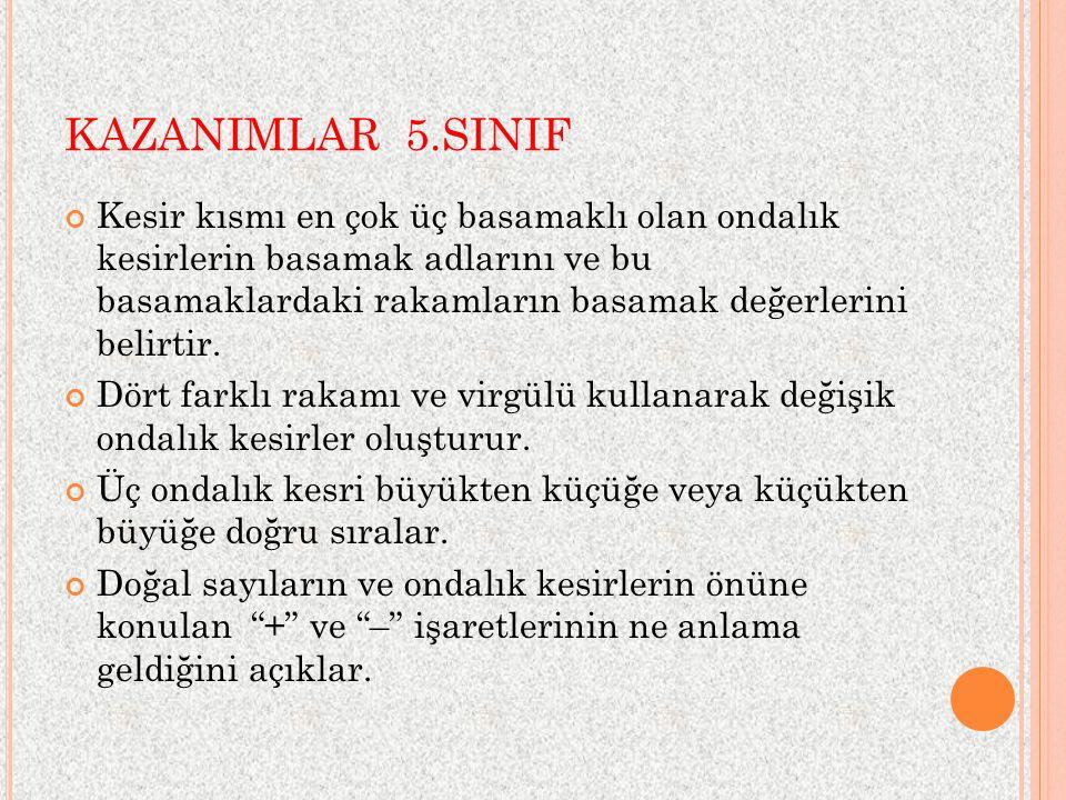 KAZANIMLAR 5.SINIF