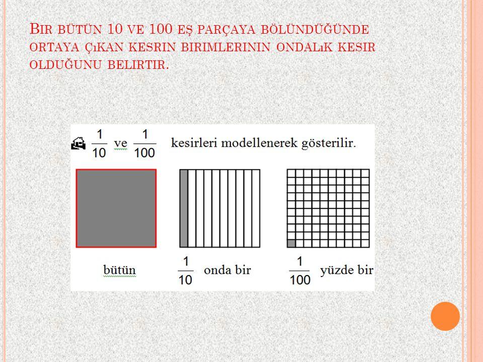 Bir bütün 10 ve 100 eş parçaya bölündüğünde ortaya çıkan kesrin birimlerinin ondalık kesir olduğunu belirtir.