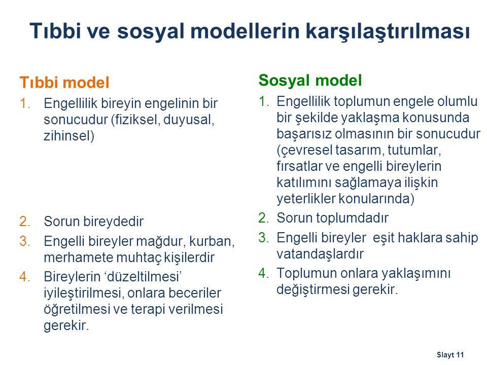 Tıbbi ve sosyal modellerin karşılaştırılması