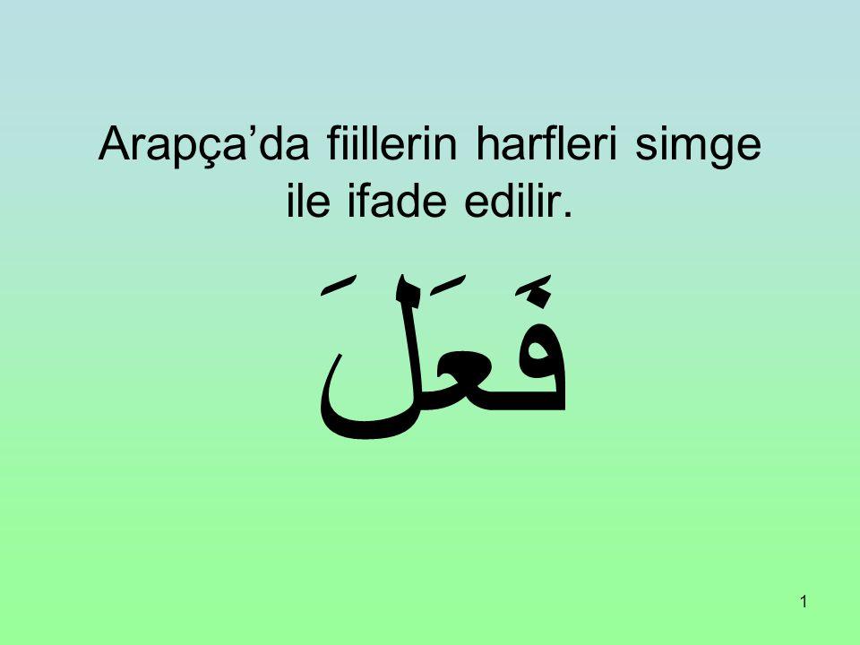 Arapça'da fiillerin harfleri simge ile ifade edilir.