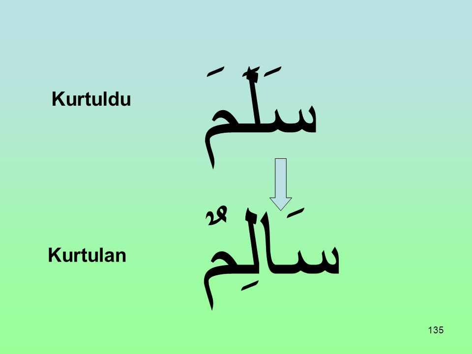 سَلَمََ Kurtuldu سَالِمٌ Kurtulan