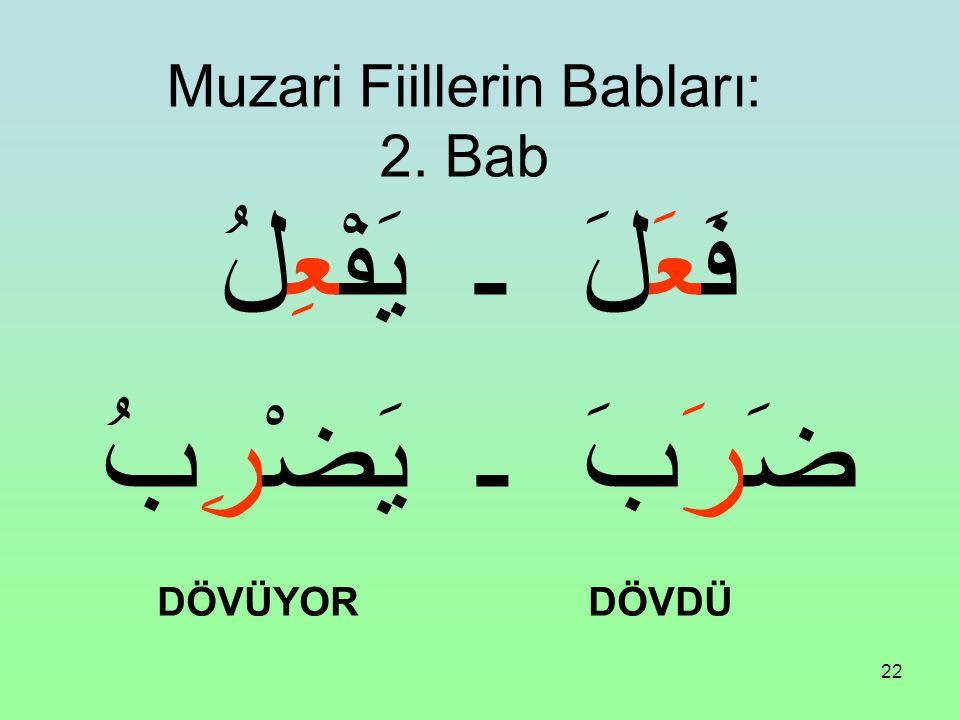 Muzari Fiillerin Babları: 2. Bab