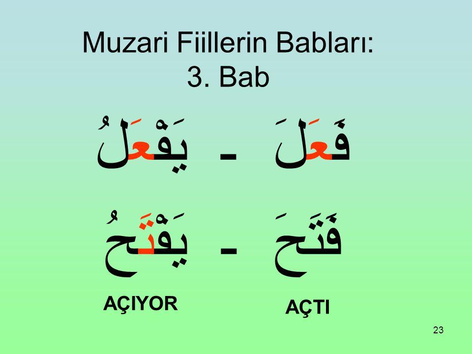 Muzari Fiillerin Babları: 3. Bab