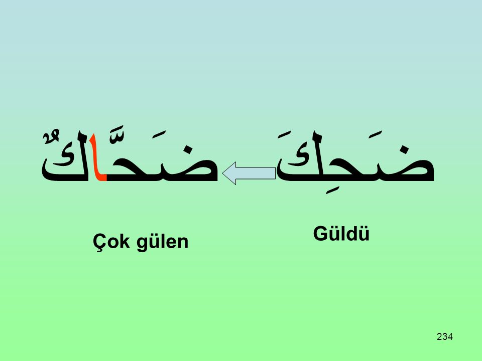 ضَحَّاكٌ ضَحِكَ Güldü Çok gülen