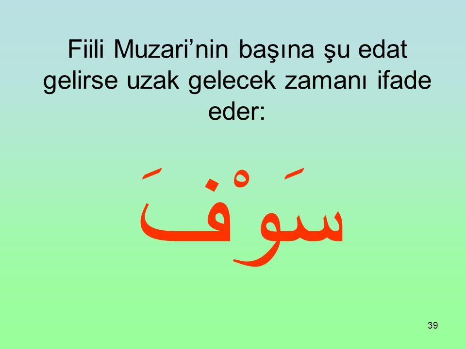 Fiili Muzari'nin başına şu edat gelirse uzak gelecek zamanı ifade eder: