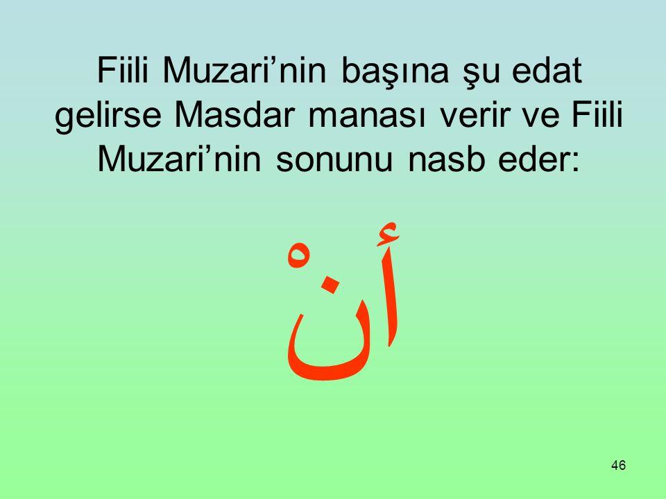 Fiili Muzari'nin başına şu edat gelirse Masdar manası verir ve Fiili Muzari'nin sonunu nasb eder: