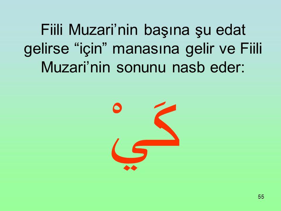 Fiili Muzari'nin başına şu edat gelirse için manasına gelir ve Fiili Muzari'nin sonunu nasb eder: