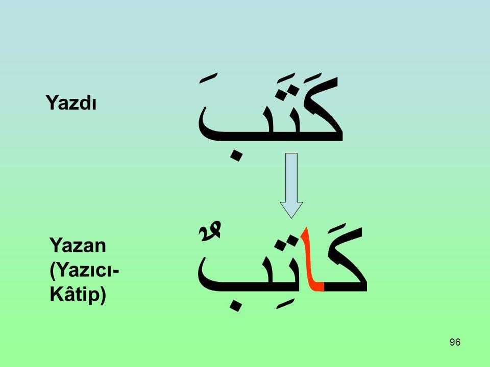 كَتَبَ Yazdı كَاتِبٌ Yazan (Yazıcı-Kâtip)