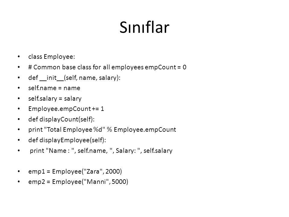 Sınıflar class Employee: