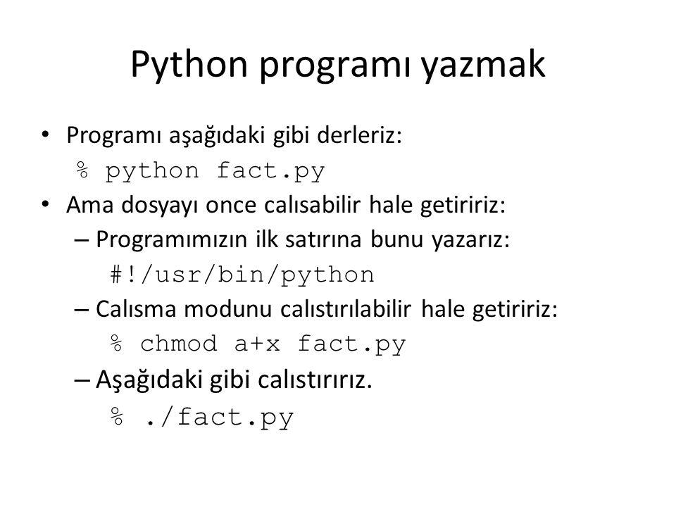 Python programı yazmak