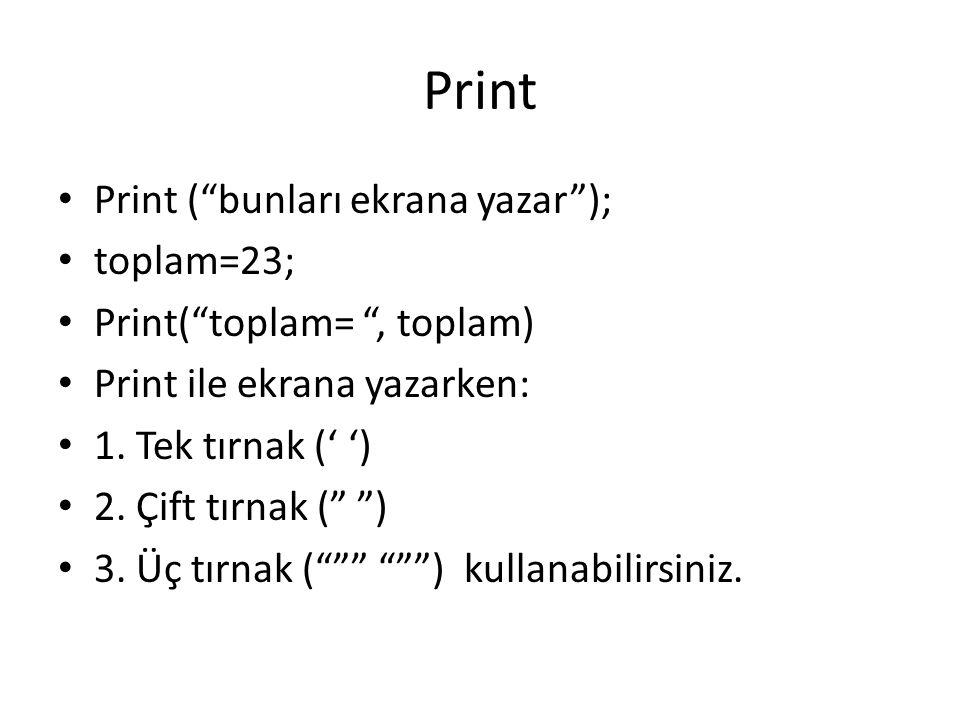 Print Print ( bunları ekrana yazar ); toplam=23;