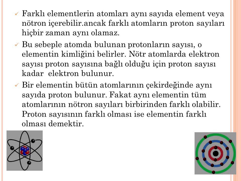 Farklı elementlerin atomları aynı sayıda element veya nötron içerebilir.ancak farklı atomların proton sayıları hiçbir zaman aynı olamaz.