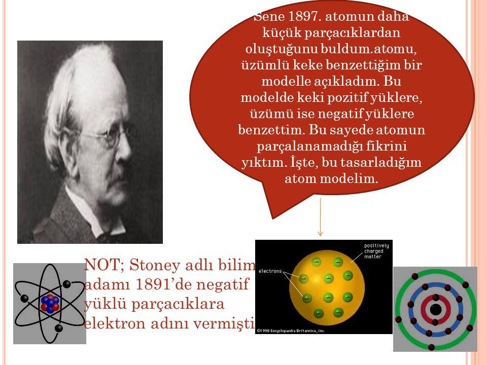 Sene 1897. atomun daha küçük parçacıklardan oluştuğunu buldum