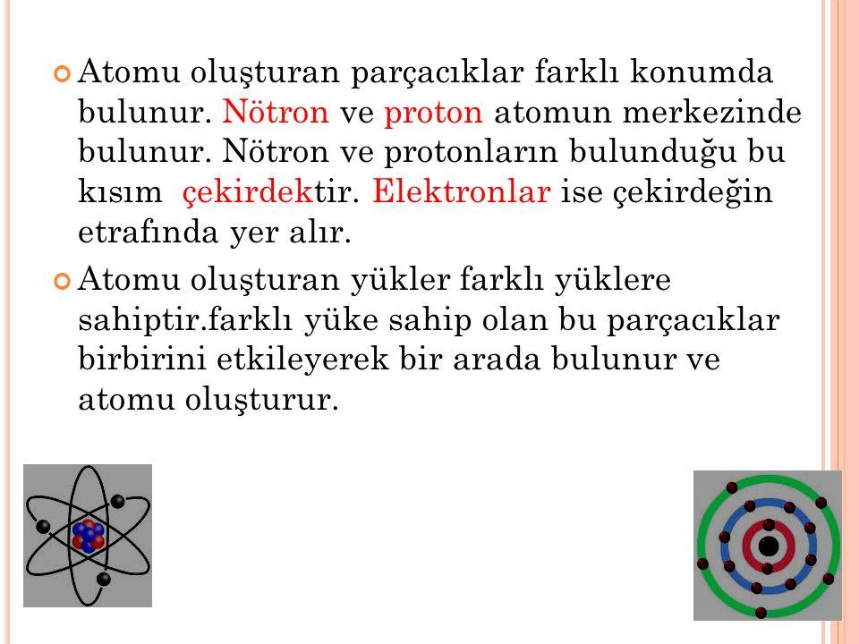 Atomu oluşturan parçacıklar farklı konumda bulunur