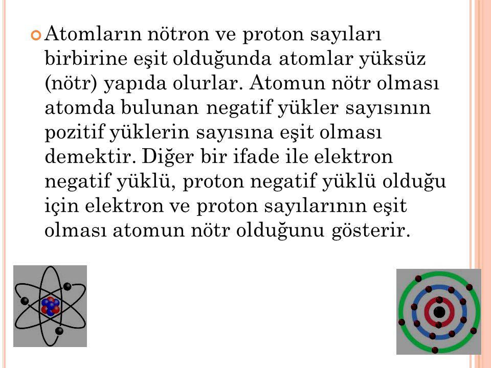 Atomların nötron ve proton sayıları birbirine eşit olduğunda atomlar yüksüz (nötr) yapıda olurlar.