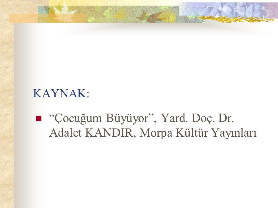 KAYNAK: Çocuğum Büyüyor , Yard. Doç. Dr. Adalet KANDIR, Morpa Kültür Yayınları