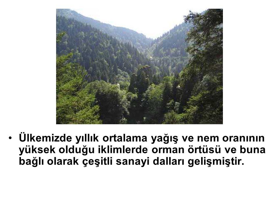 Ülkemizde yıllık ortalama yağış ve nem oranının yüksek olduğu iklimlerde orman örtüsü ve buna bağlı olarak çeşitli sanayi dalları gelişmiştir.