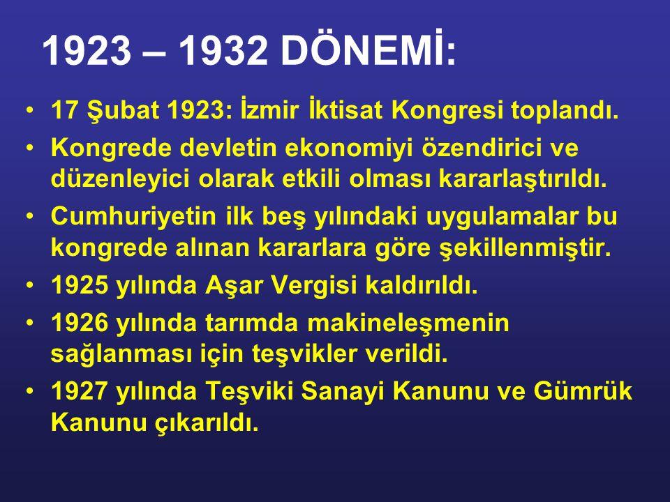 1923 – 1932 DÖNEMİ: 17 Şubat 1923: İzmir İktisat Kongresi toplandı.