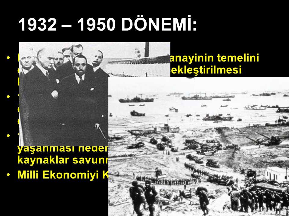 1932 – 1950 DÖNEMİ: Karma ekonomi sistemi ile sanayinin temelini oluşturacak yatırımların gerçekleştirilmesi benimsenmiştir.